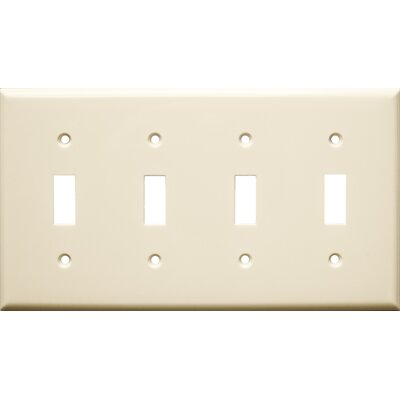 4 Gang Lexan Wall Plates for Toggle Switch in Almond