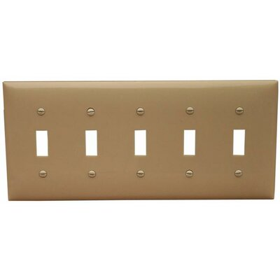 5 Gang Lexan Wall Plates for Toggle Switch in Ivory