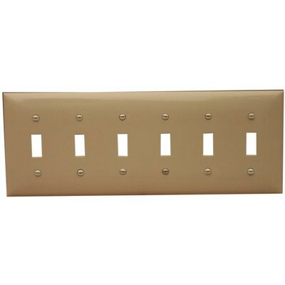 6 Gang Lexan Wall Plates for Toggle Switch in Ivory (Set of 3)