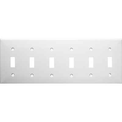 6 Gang Lexan Wall Plates for Toggle Switch in White