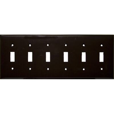 6 Gang Lexan Wall Plates for Toggle Switch in Brown