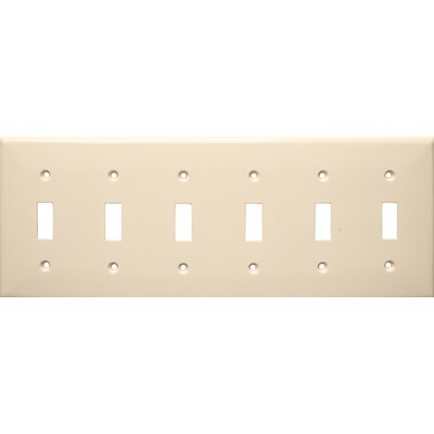 6 Gang Lexan Wall Plates for Toggle Switch in Almond