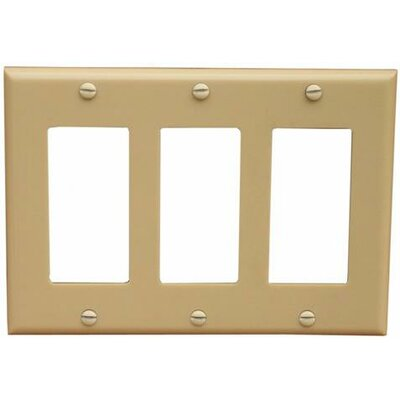 3 Gang Decorator / GFCI Lexan Wall Plates in Ivory (Set of 5)