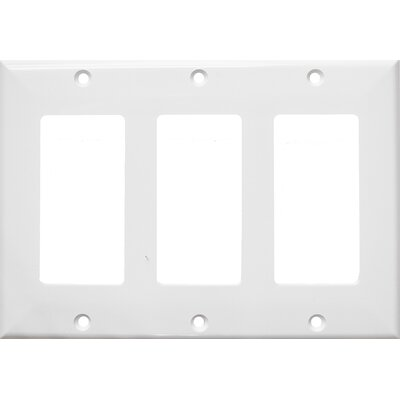3 Gang Decorator / GFCI Lexan Wall Plates in White