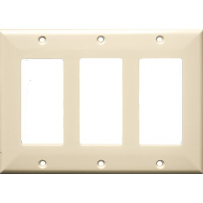 3 Gang Decorator / GFCI Lexan Wall Plates in Almond