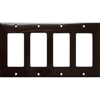 4 Gang Decorator / GFCI Lexan Wall Plates in Brown