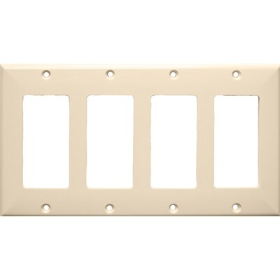 4 Gang Decorator / GFCI Lexan Wall Plates in Almond