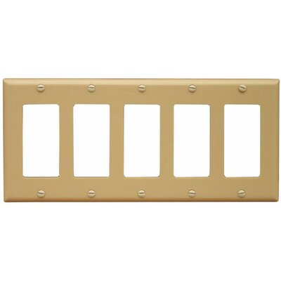 5 Gang Decorator / GFCI Lexan Wall Plates in Ivory (Set of 3)