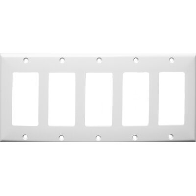 5 Gang Decorator / GFCI Lexan Wall Plates in White
