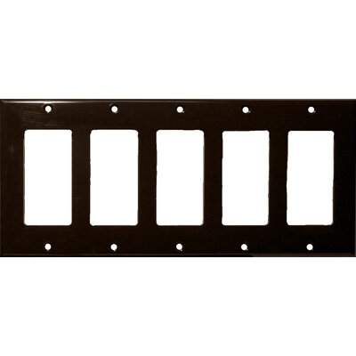 5 Gang Decorator / GFCI Lexan Wall Plates in Brown