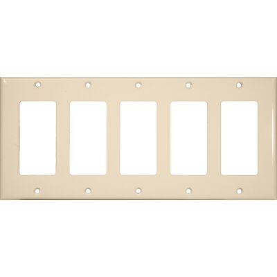 5 Gang Decorator / GFCI Lexan Wall Plates in Almond