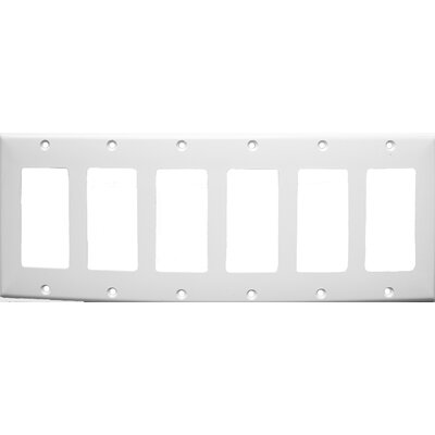 6 Gang Decorator / GFCI Lexan Wall Plates in White