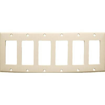 6 Gang Decorator / GFCI Lexan Wall Plates in Almond (Set of 3)
