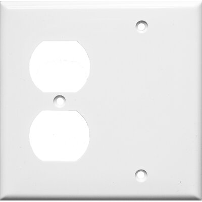 2 Gang 1 Duplex 1 Blank Lexan Wall Plates in White (Set of 6)