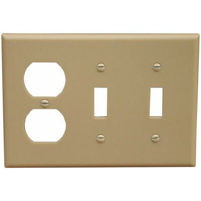 3 Gang 1 Duplex 2 Toggle Lexan Wall Plates in Ivory