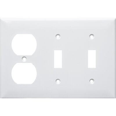 3 Gang 1 Duplex 2 Toggle Lexan Wall Plates in White (Set of 4)
