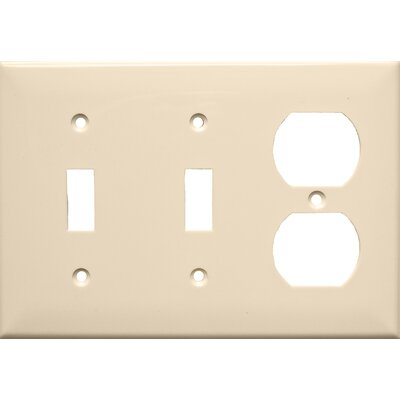 3 Gang 1 Duplex 2 Toggle Lexan Wall Plates in Almond (Set of 4)