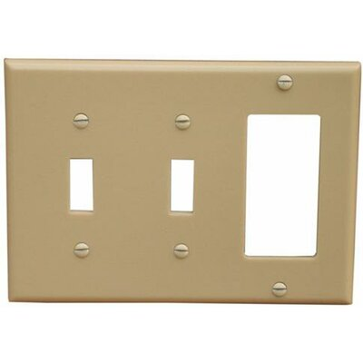 3 Gang 2 Toggle 1 GFCI Lexan Wall Plates in Ivory (Set of 4)