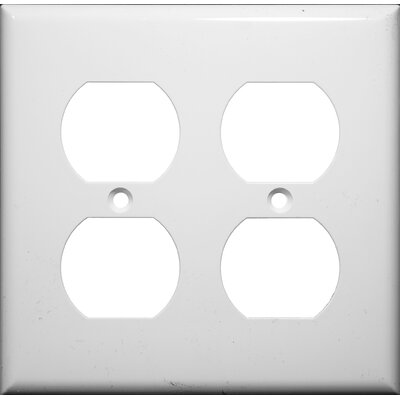 2 Gang Duplex Lexan Receptacle Wall Plates in White