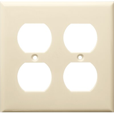 2 Gang Duplex Lexan Receptacle Wall Plates in Almond