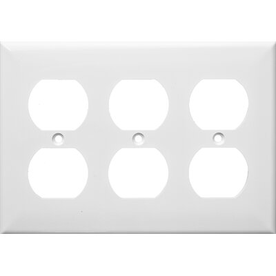 3 Gang Duplex Lexan Receptacle Wall Plates in White