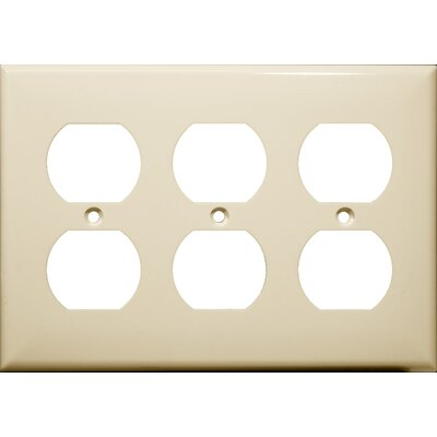 3 Gang Duplex Lexan Receptacle Wall Plates in Almond