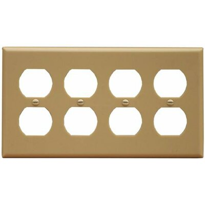 4 Gang Duplex Lexan Receptacle Wall Plates in Ivory (Set of 3)