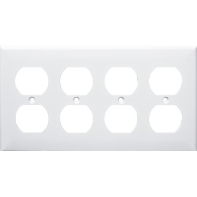 4 Gang Duplex Lexan Receptacle Wall Plates in White