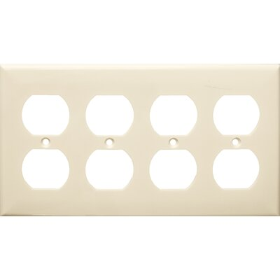 4 Gang Duplex Lexan Receptacle Wall Plates in Almond (Set of 3)