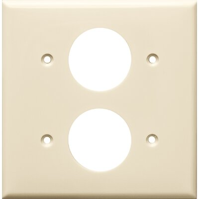 2 Gang Single Lexan Receptacle Wall Plates in Almond