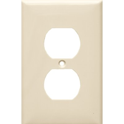 1 Gang Midsize Duplex Receptacle Lexan Wall Plates in Almond