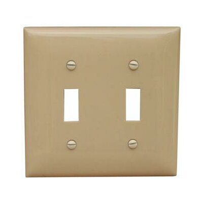 2 Gang Midsize Lexan Wall Plates for Toggle Switch in Ivory
