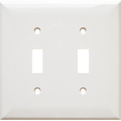 2 Gang Midsize Lexan Wall Plates for Toggle Switch in White