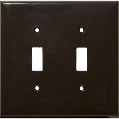 2 Gang Midsize Lexan Wall Plates for Toggle Switch in Brown (Set of 6)