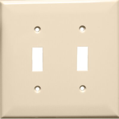 2 Gang Midsize Lexan Wall Plates for Toggle Switch in Almond (Set of 6)
