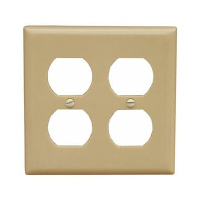 2 Gang Midsize Receptacle Lexan Wall Plates in Ivory (Set of 5)