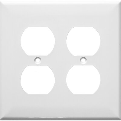 2 Gang Midsize Receptacle Lexan Wall Plates in White