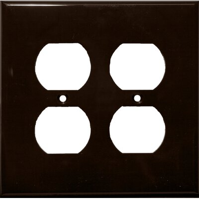 2 Gang Midsize Receptacle Lexan Wall Plates in Brown (Set of 5)