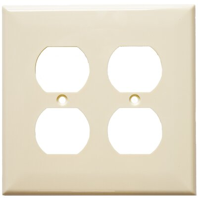 2 Gang Midsize Receptacle Lexan Wall Plates in Almond (Set of 5)