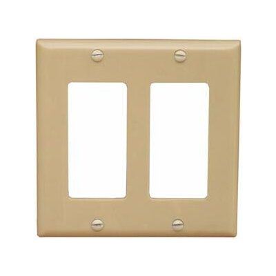 2 Gang Midsize Decorative / GFCI Lexan Wall Plates in Ivory