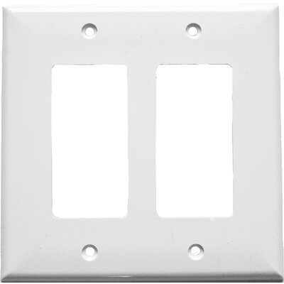 2 Gang Midsize Decorative / GFCI Lexan Wall Plates in White (Set of 5)
