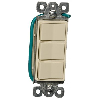 15A-120/277V Commercial Grade Decorator Triple Rocker Switch in Ivory