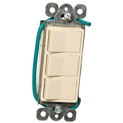 15A-120/277V Commercial Grade Decorator Triple Rocker Switch in Almond