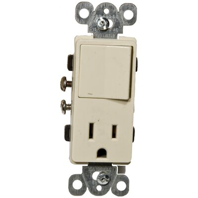 Commercial Grade Decorator Single Pole Switch/Receptacle Rocker Switch in Ivory