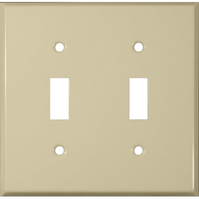Two Gang and Toggle Switch Metal Wall Plates in Ivory (Set of 4)