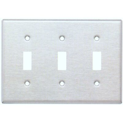 Three Gang and Toggle Switch Metal Wall Plates in Stainless