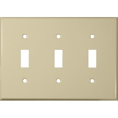 Three Gang and Toggle Switch Metal Wall Plates in Ivory