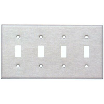 Four Gang and Toggle Switch Metal Wall Plates in Stainless