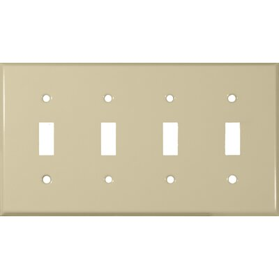 Four Gang and Toggle Switch Metal Wall Plates in Ivory