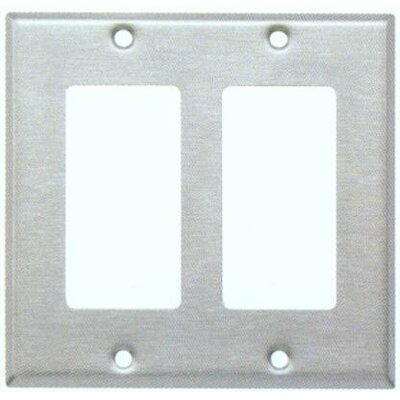 Two Gang Decorator and GFCI Metal Wall Plates in Stainless (Set of 4)